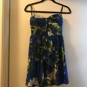 XOXO blue floral strapless dress